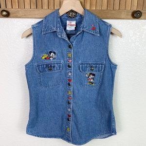 Disney Store Mickey Minnie Mouse Pluto Jean Vest
